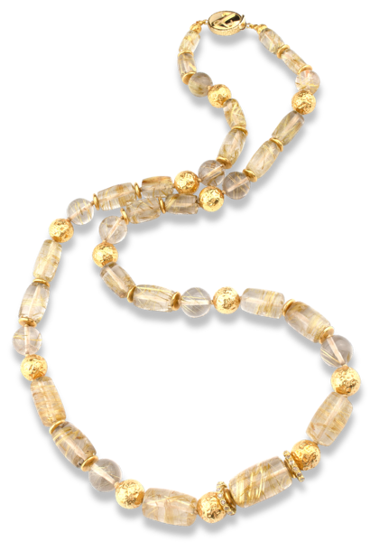 Rutilated Quartz and 18K Gold Necklace