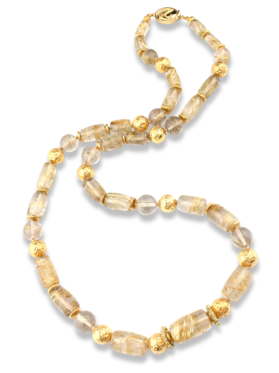 Rutilated Quartz and 18K Gold Necklace-1