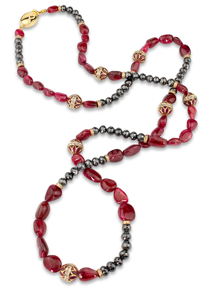 "Spinel and Black Diamond Necklace - 40""-1"