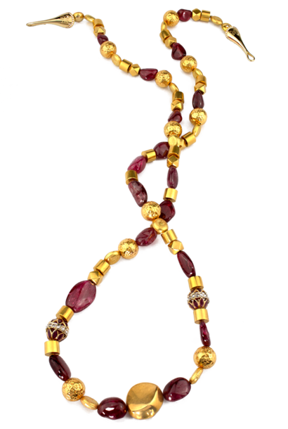 Spinel and Gold Necklace - 32""