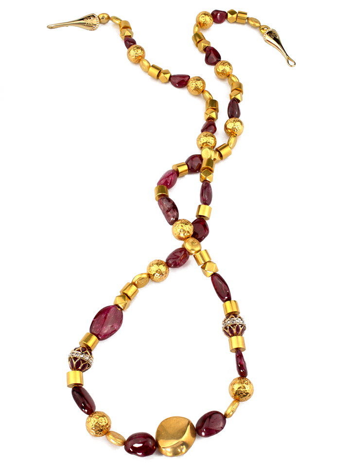 "Spinel and Gold Necklace - 32""-1"