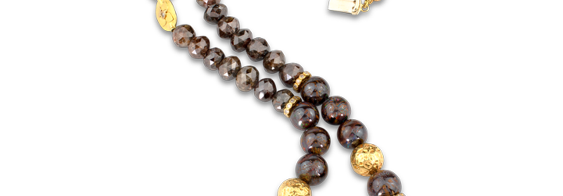 Boulder Opal and Brown Diamond Necklace - 32""