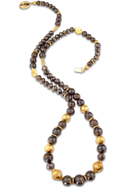 """Boulder Opal and Brown Diamond Necklace - 32"""""""