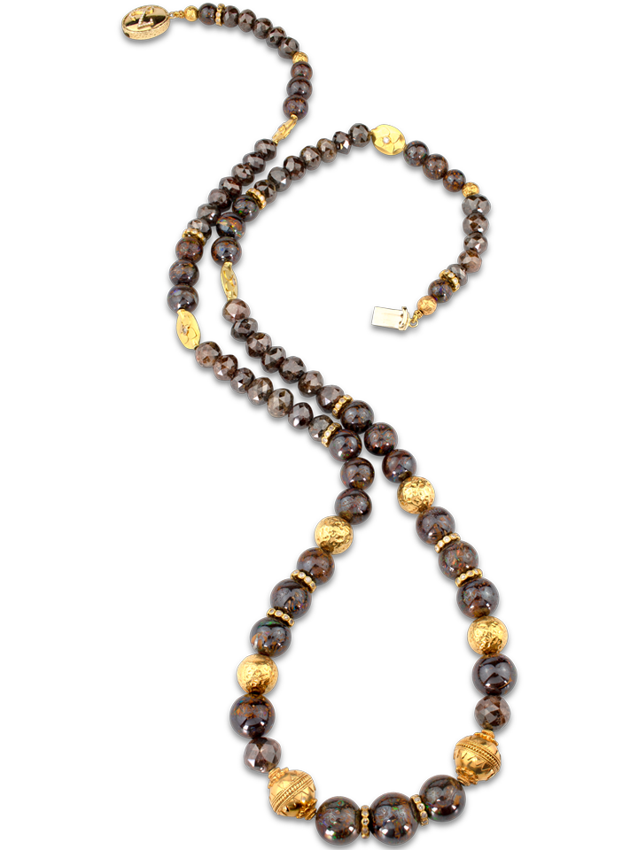 "Boulder Opal and Brown Diamond Necklace - 32""-1"