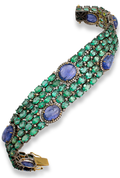 Emerald and Tanzanite in Sterling Silver Bracelet