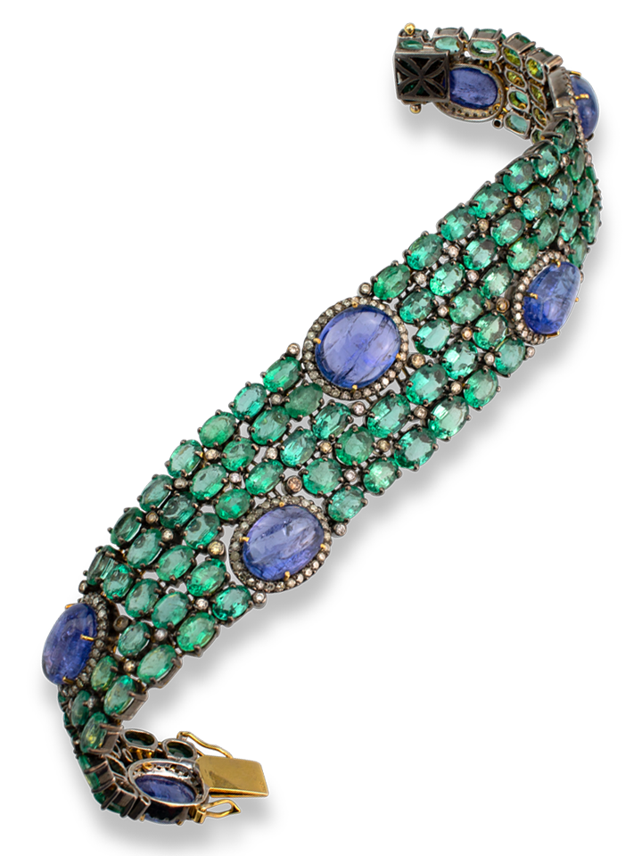 Emerald and Tanzanite in Sterling Silver Bracelet-1