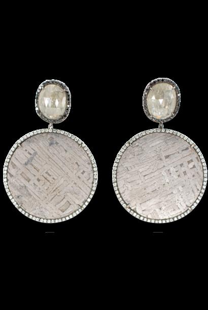Meteorite and Rough Diamond Earrings