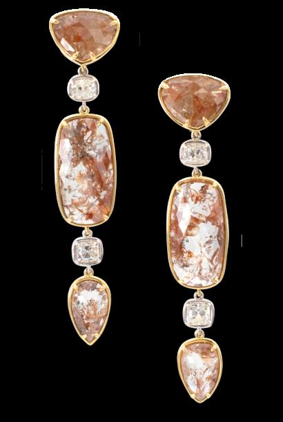 Red Diamond Slice & White Diamond Earrings