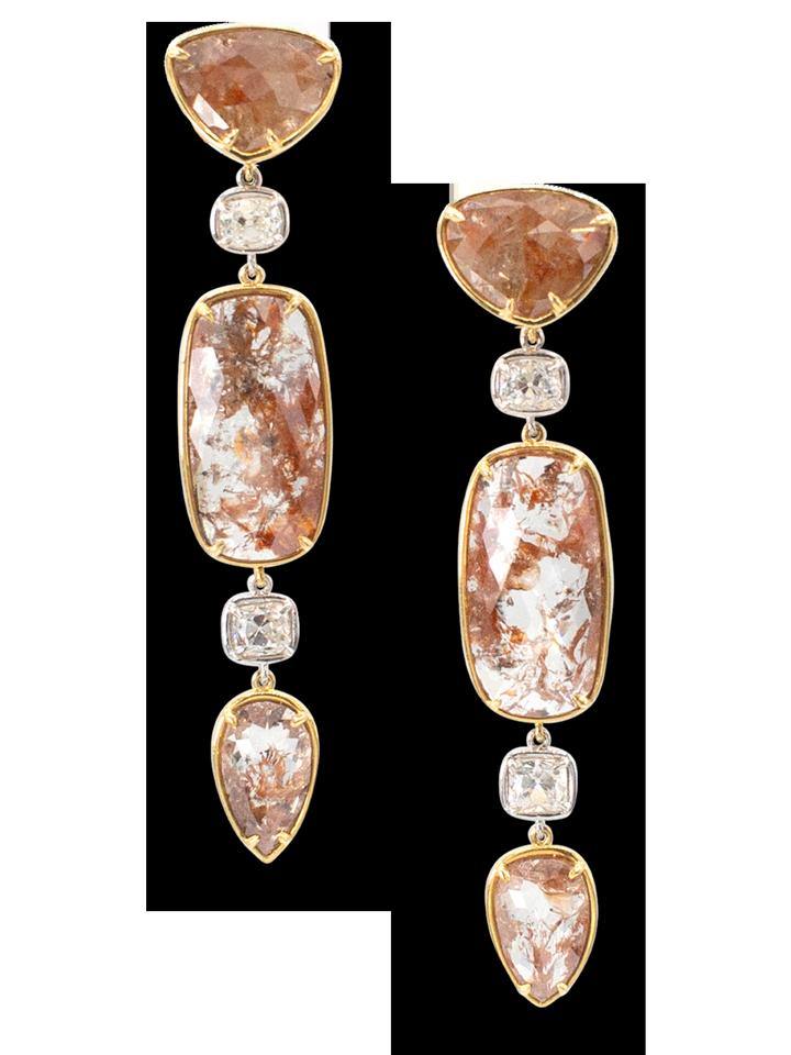 Red Diamond Slice & White Diamond Earrings-1