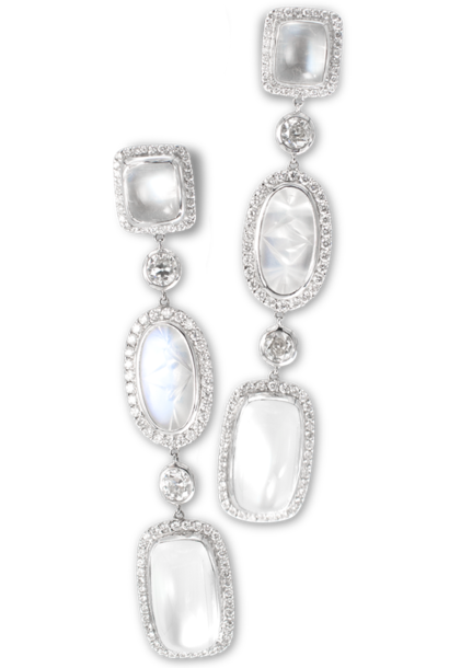 Moonstone & Diamond Earrings
