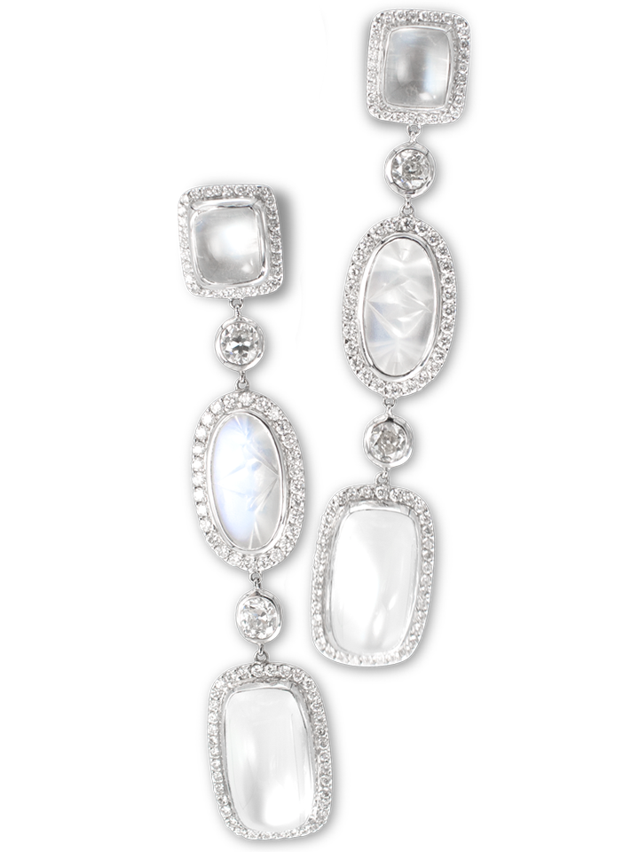 Moonstone & Diamond Earrings-1