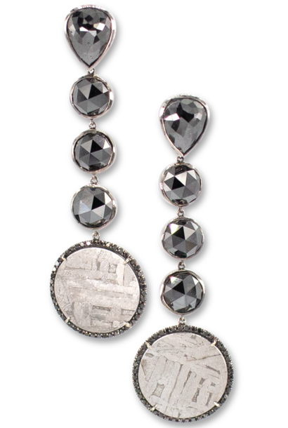 Black Diamond & Meteorite Earrings