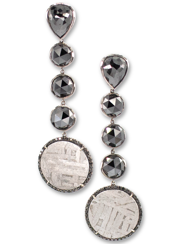 Black Diamond & Meteorite Earrings-1