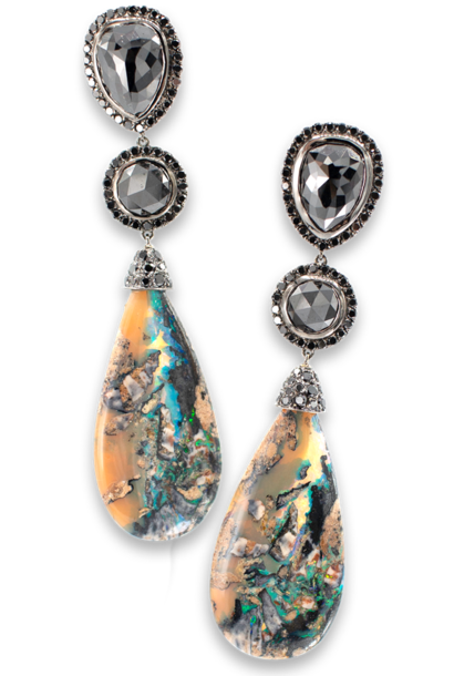 Boulder Opal and Black Diamond Earrings