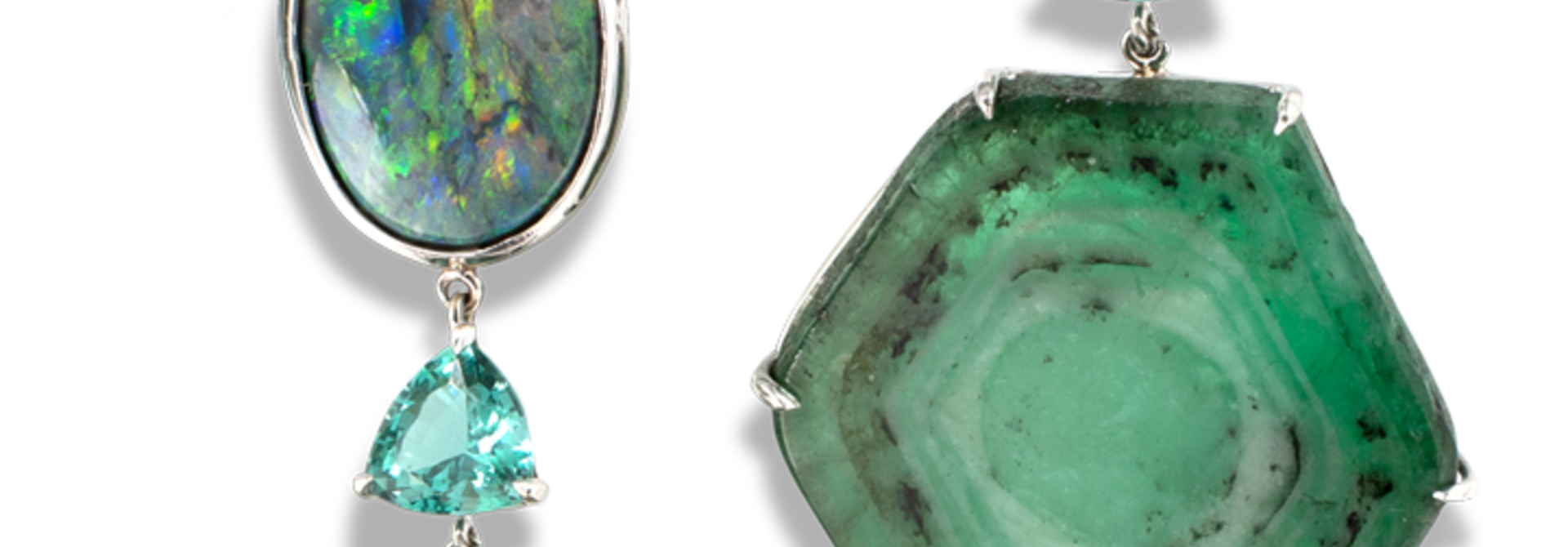 Trapiche Emerald, Lagoon Tourmaline and Opal Earrings