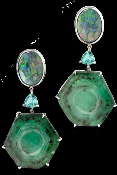 Trapiche Emerald, Lagoon Tourmaline and Opal Earrings