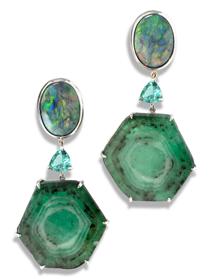 Trapiche Emerald, Lagoon Tourmaline and Opal Earrings-1