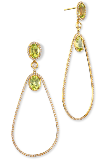 Chrysoberyl & Diamond Earrings