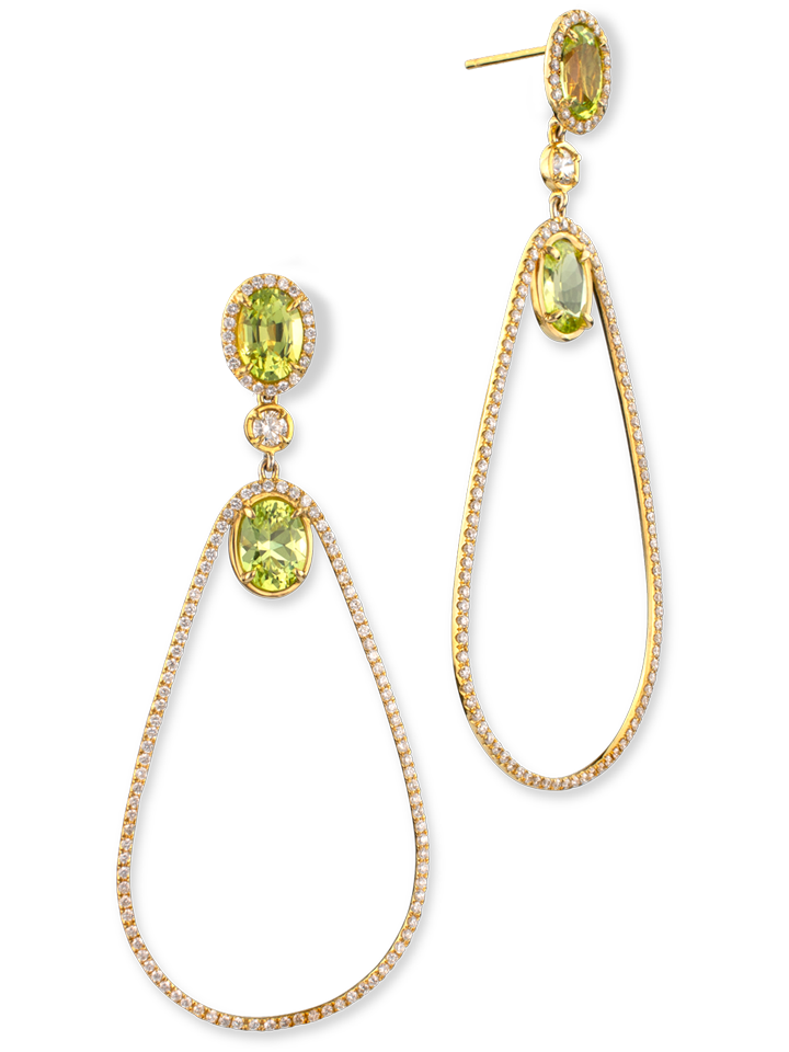 Chrysoberyl & Diamond Earrings-1