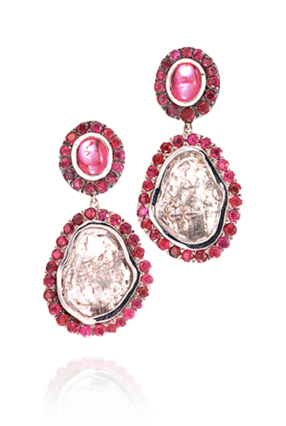 Diamond Slice, Spinel and Ruby Earrings