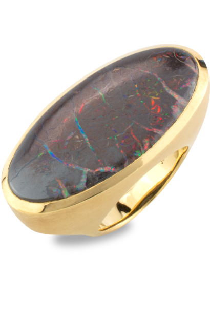 Koroit Opal and 18K Gold Ring