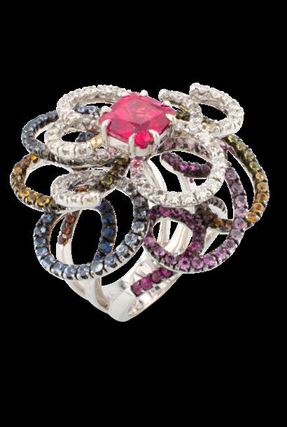 Sapphire, Spinel & Diamond Swirl Ring