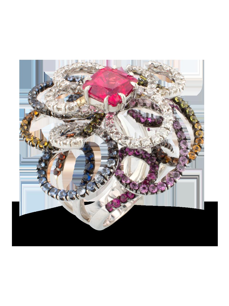 Sapphire, Spinel & Diamond Swirl Ring-1
