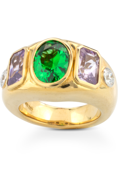 Tsavorite, Lavender Spinel &  Diamond Ring