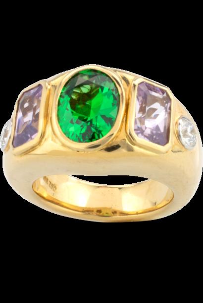 Tsavorite, Lavender Spinel &  Diamond Ring