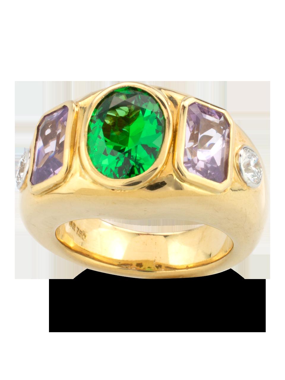 Tsavorite, Lavender Spinel &  Diamond Ring-1