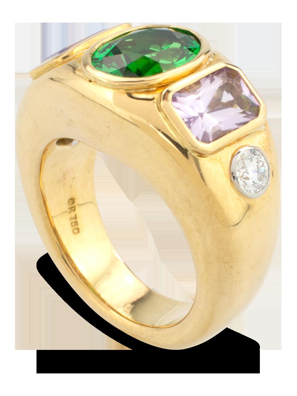 Tsavorite, Lavender Spinel &  Diamond Ring-3