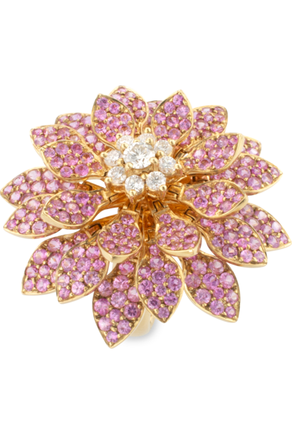 Moving Flower Ring with Pink Sapphires