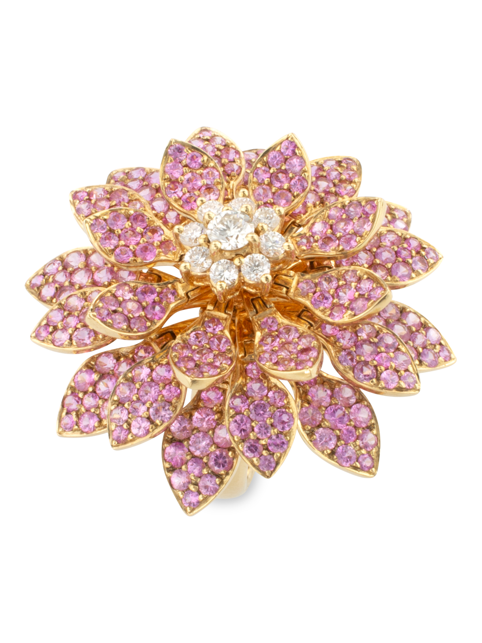 Moving Flower Ring with Pink Sapphires-1