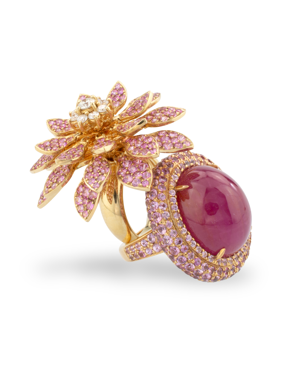 Moving Flower Ring with Pink Sapphires-3