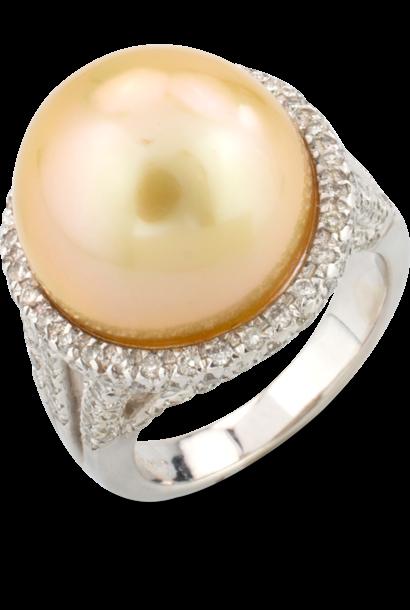 Golden Pearl & Diamond Ring
