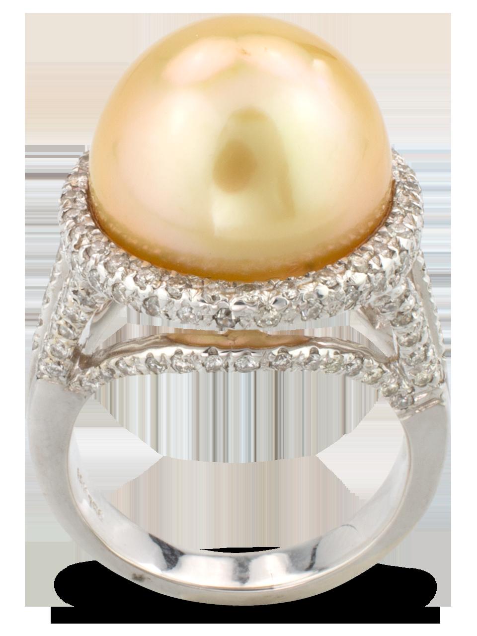 Golden Pearl & Diamond Ring-2