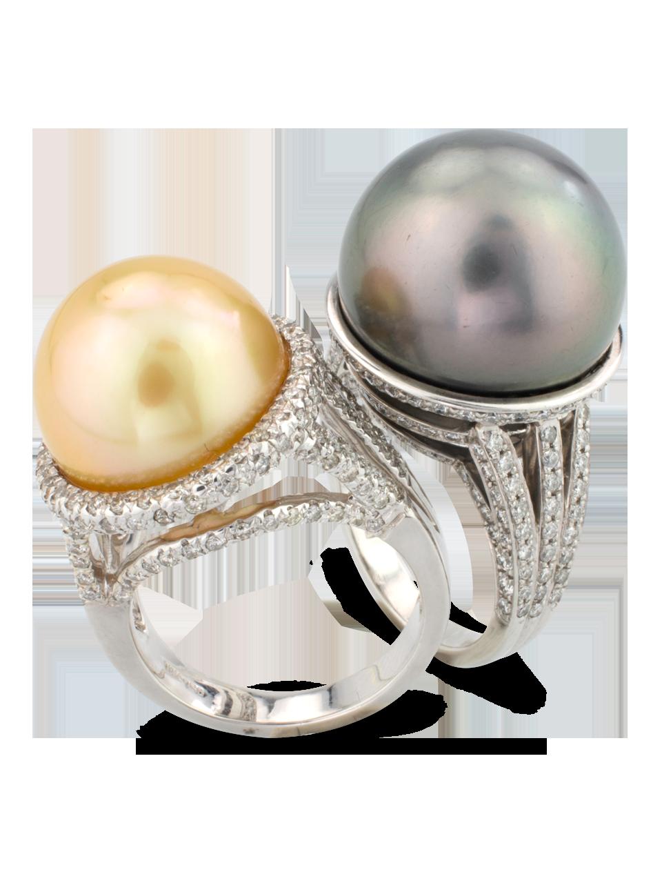 Golden Pearl & Diamond Ring-3