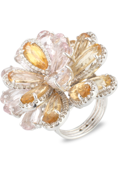 Morganite & Imperial Topaz Flower Ring