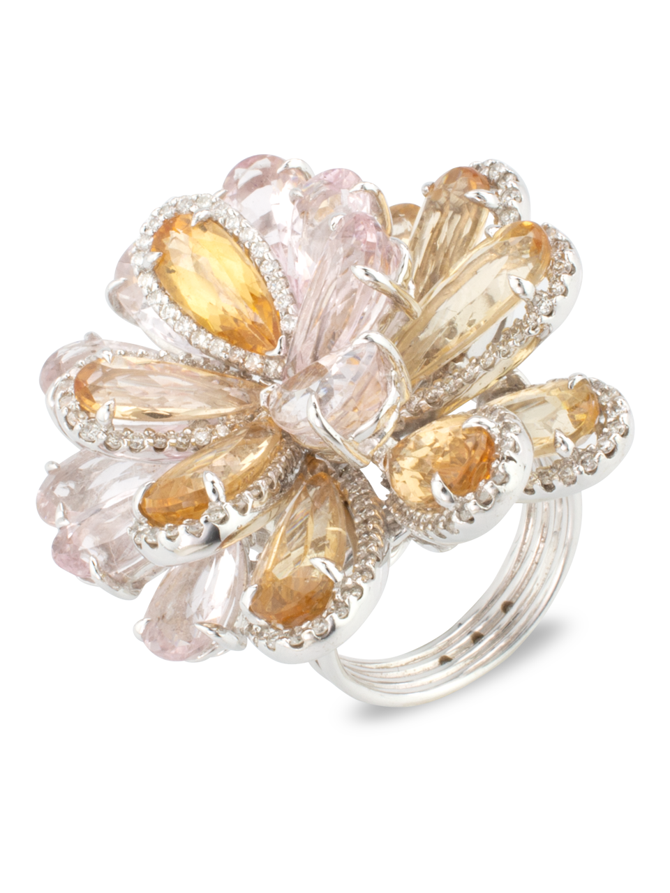 Morganite & Imperial Topaz Flower Ring-1