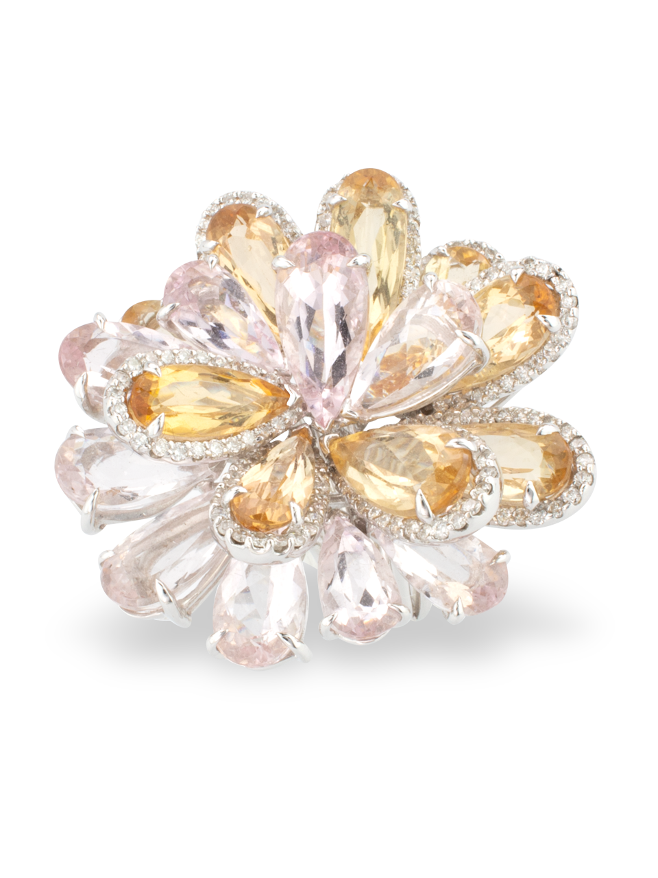 Morganite & Imperial Topaz Flower Ring-2