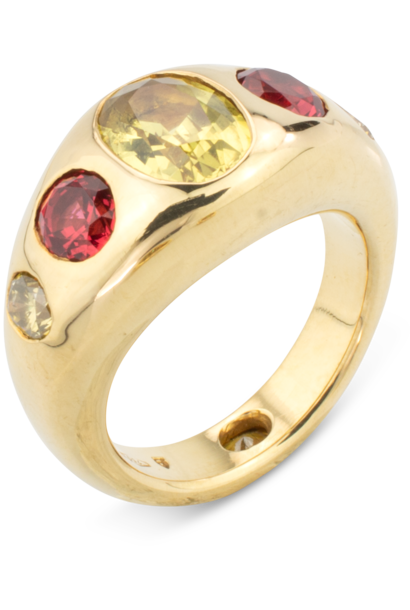 Yellow Sapphire, Red Spinel & Diamond Gypsy Ring