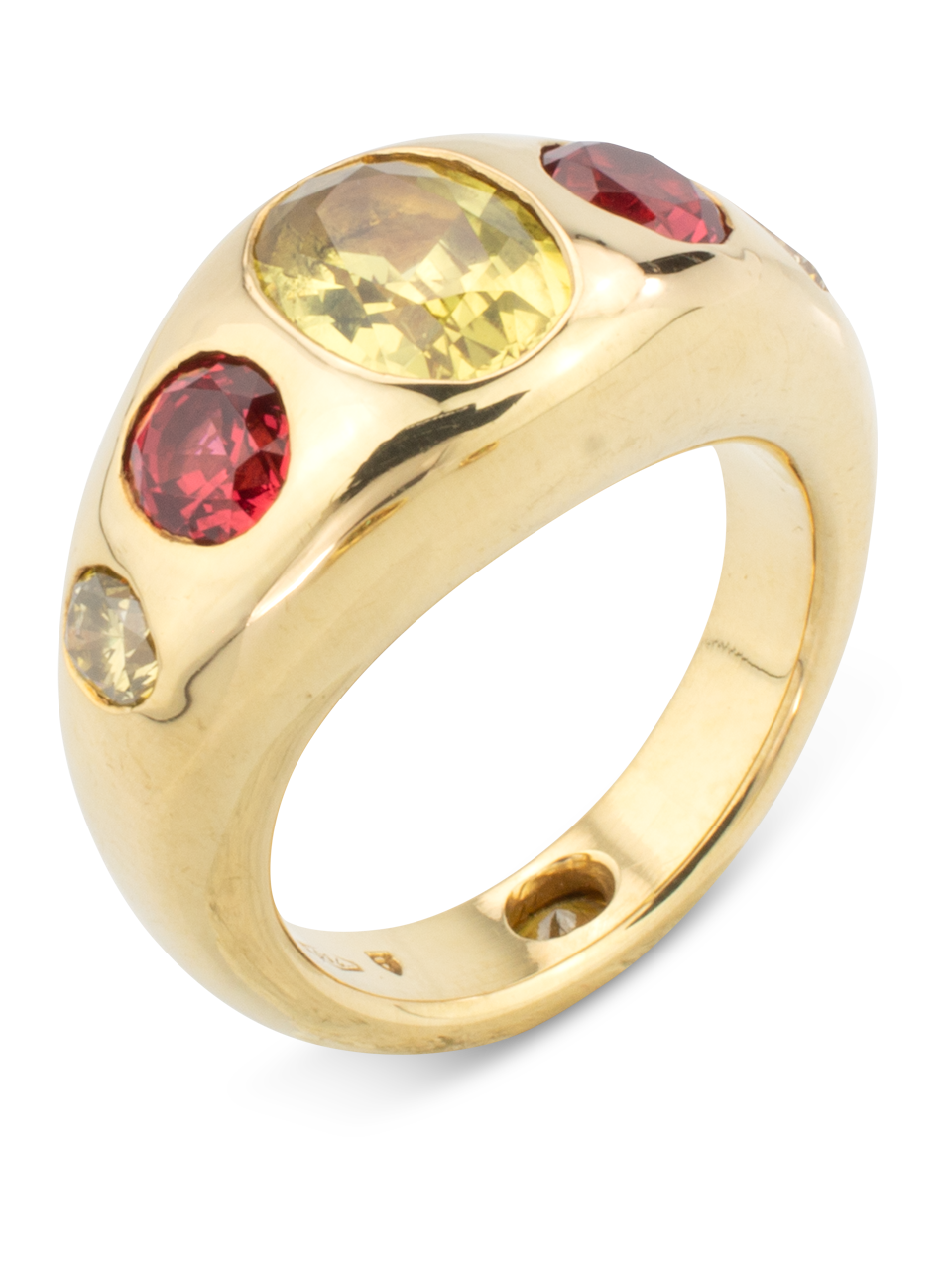 Yellow Sapphire, Red Spinel & Diamond Gypsy Ring-1