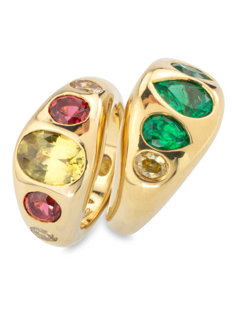 Yellow Sapphire, Red Spinel & Diamond Gypsy Ring-2