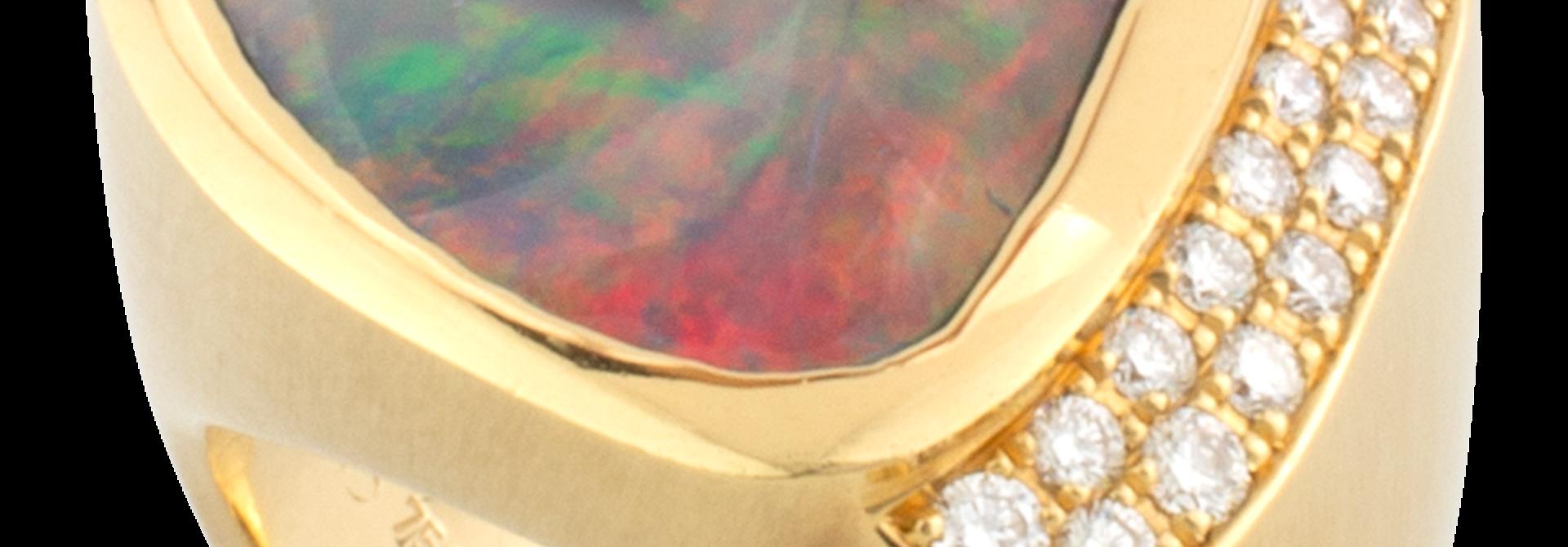Black Opal & Diamond Ring