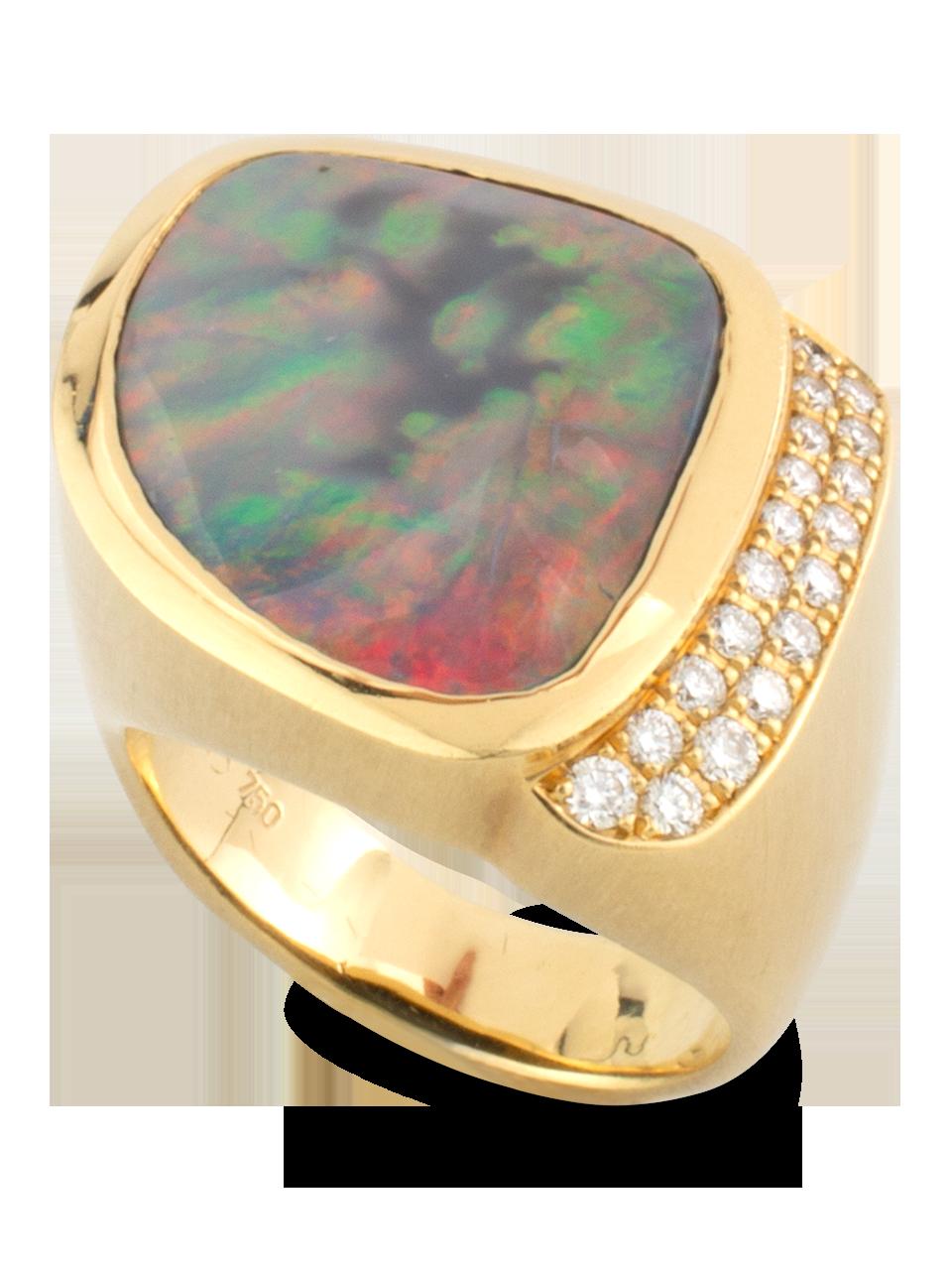 Black Opal & Diamond Ring-1