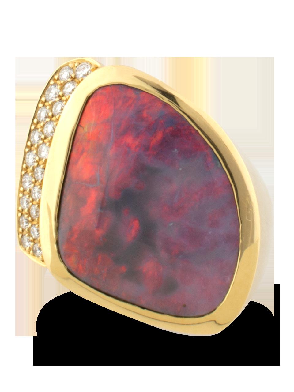 Black Opal & Diamond Ring-2