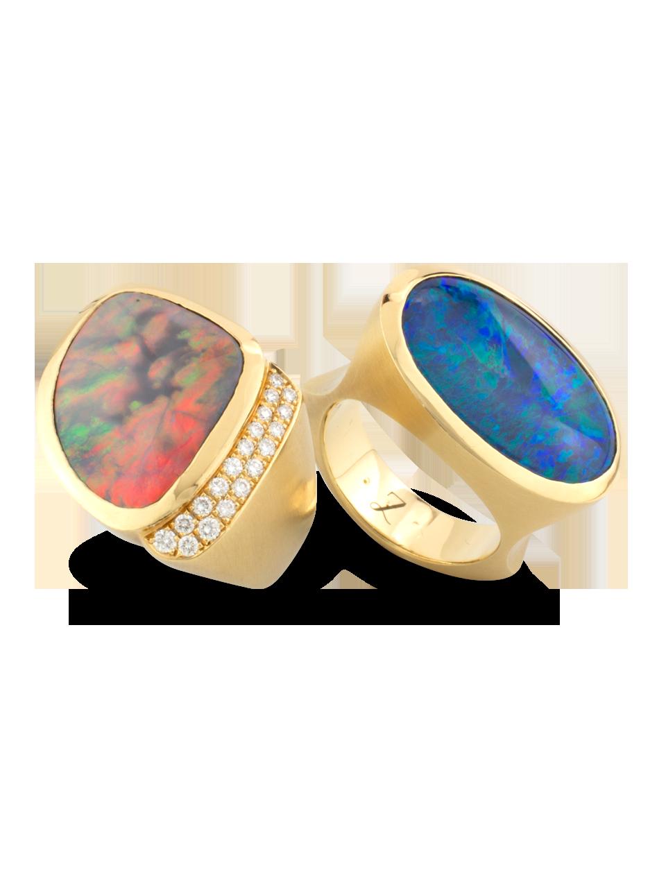 Black Opal & Diamond Ring-3