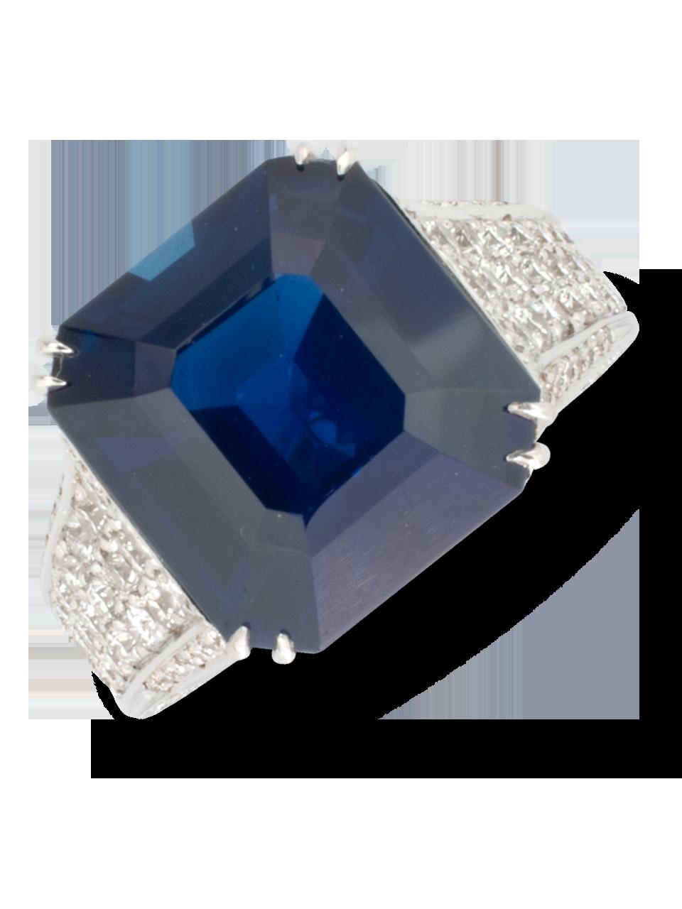 Blue Sapphire & Diamond Ring-1