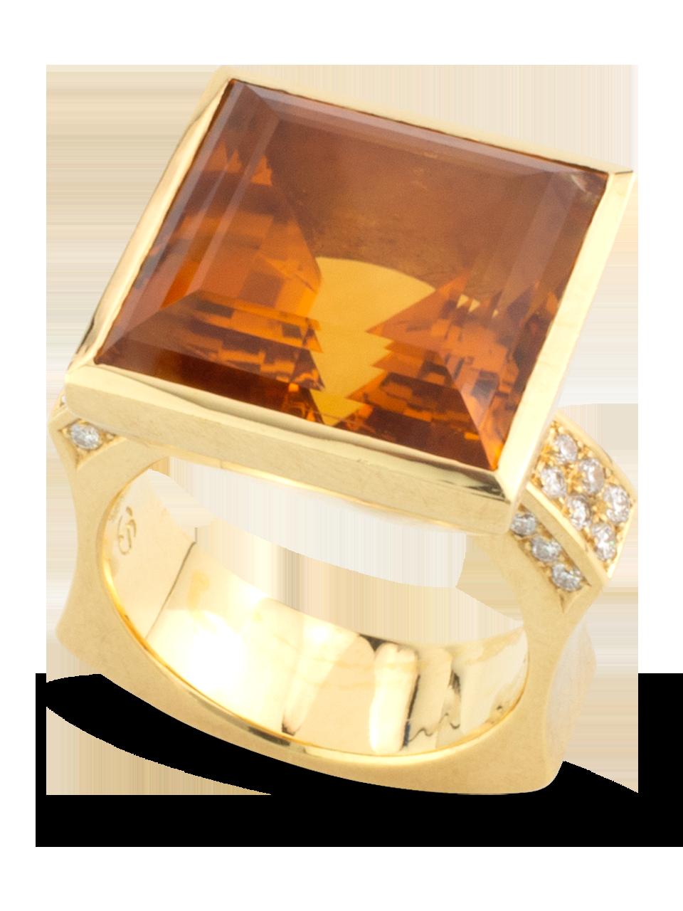Citrine & Diamond Ring-1