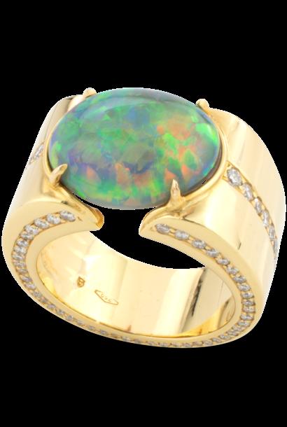 Black Opal & Diamond Cigar Band Ring